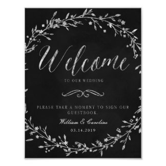 Chalkboard Wreath Wedding Guestbook Sign Poster
