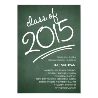 "Chalkboard Writing Graduation Invitation 5"" X 7"" Invitation Card"
