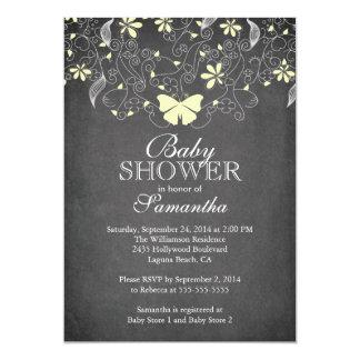 Chalkboard  Yellow Butterfly Neutral Baby Shower Card