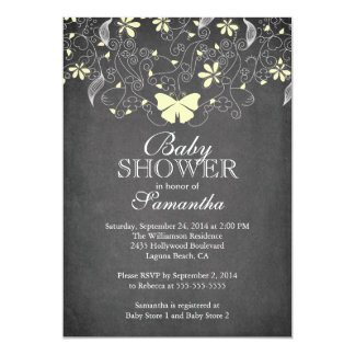 Chalkboard  Yellow Butterfly Neutral Baby Shower 13 Cm X 18 Cm Invitation Card