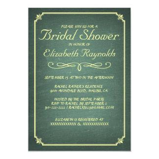 Chalkboard Yellow Green Bridal Shower Invitations