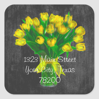 Chalkboard Yellow Tulips Address Label Square Sticker