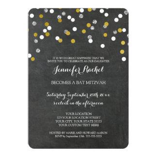 Chalkbord Silver Confetti Bat Mitzvah Invitations
