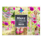 Chalked Collage Birthday Party Thank You Card