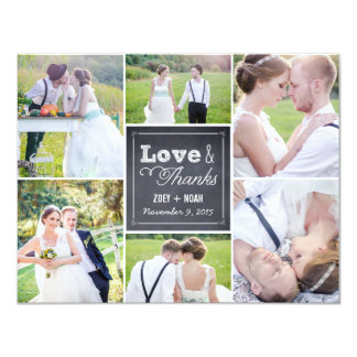 Chalked Collage Wedding Photo Thank You Card 11 Cm X 14 Cm Invitation Card