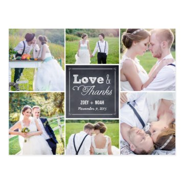 Chalked Collage Wedding Thank You Card Post Cards at Zazzle