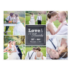 Chalked Collage Wedding Thank You Card Postcard at Zazzle