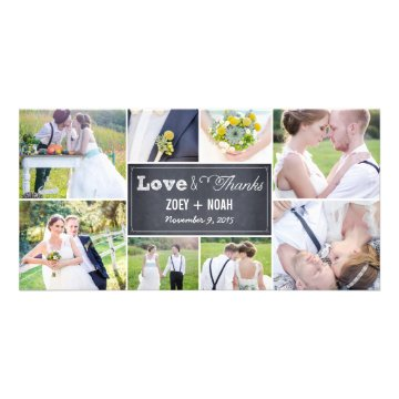 Chalked Collage Wedding Thank You Photo Cards Personalized Photo Card at Zazzle