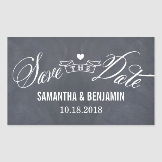 Chalked Frame Save The Date Sticker