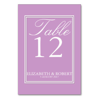 Chalky Pastel Violet Wedding Invitation Set Table Card
