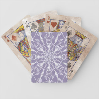 Chalky White Mandala on Lavender Bicycle Playing Cards