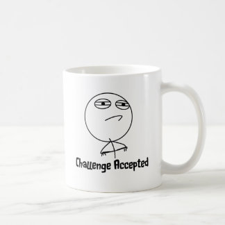 Challenge Accepted Black White Text Coffee Mug