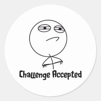 Challenge Accepted Black & White Text Round Sticker