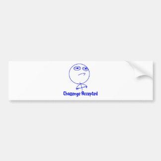 Challenge Accepted Blue & White Text Bumper Sticker