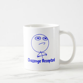 Challenge Accepted Blue White Text Coffee Mugs