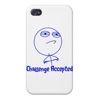 Challenge Accepted Blue & White Text iPhone 4 Case