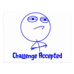 Challenge Accepted Blue & White Text Postcards