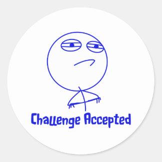 Challenge Accepted Blue & White Text Round Sticker