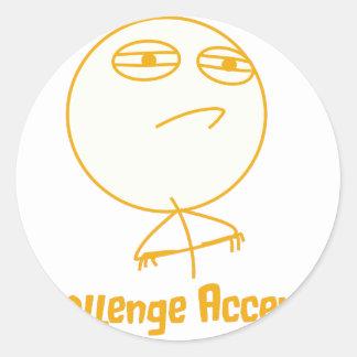 Challenge Accepted (In Orange!) Round Sticker
