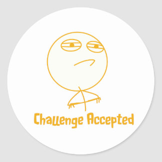 Challenge Accepted (In Orange!) Round Stickers