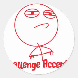Challenge Accepted (In Red!) Round Sticker