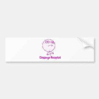 Challenge Accepted Pink & White Text Bumper Sticker