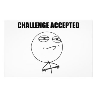 Challenge Accepted Rage Face Comic Meme Personalised Stationery