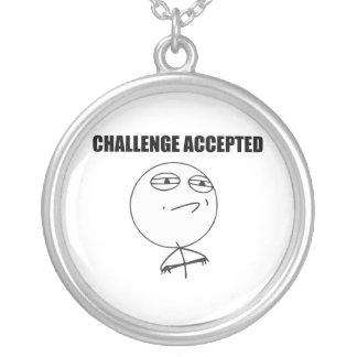 Challenge Accepted Rage Face Comic Meme Round Pendant Necklace