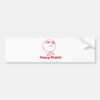 Challenge Accepted Red & White Text Bumper Sticker