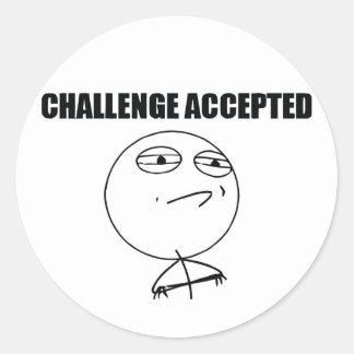 Challenge Accepted Round Sticker