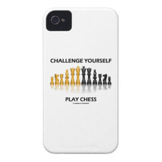 Challenge Yourself Play Chess Reflective Chess iPhone 4 Cases