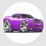 Challenger Purple Car Classic Round Sticker