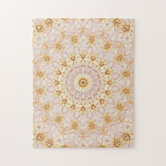 Challenging Pink and Yellow Floral Mandala Jigsaw Puzzle