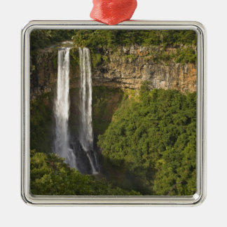 Chamarel Waterfall-highest on Mauritius, over Silver-Colored Square Decoration