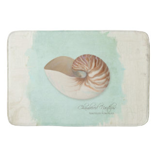 Chambered Nautilus Shell Ocean Seashore Beach Bath Mat