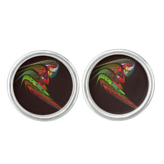 Chameleon Abstract Art Silver Plated Cuff Links