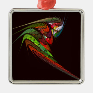 Chameleon Abstract Art Square Silver-Colored Square Decoration