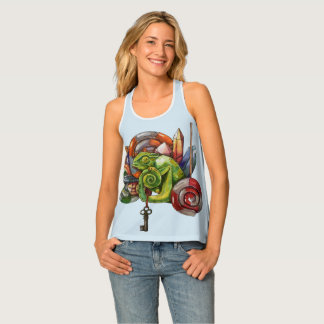 chameleon and crystals tank top