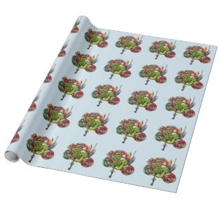 chameleon and crystals wrapping paper
