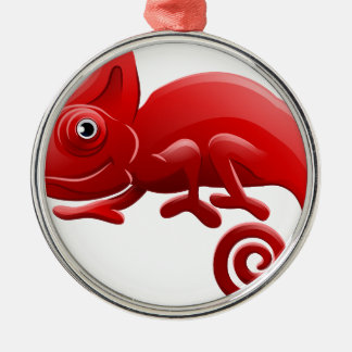 Chameleon Animal Cartoon Character Silver-Colored Round Decoration