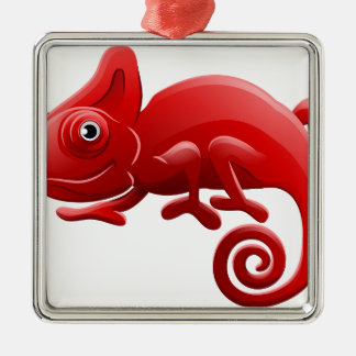 Chameleon Animal Cartoon Character Silver-Colored Square Decoration