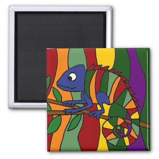 Chameleon Art Abstract Magnet