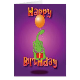 chameleon - balloon - happy birthday card