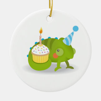 Chameleon birthday christmas ornament