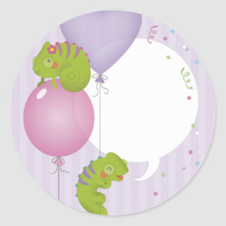 Chameleon birthday classic round sticker