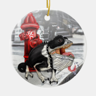 Chameleon Boston Terrier Christmas Ornament