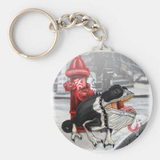 Chameleon Boston Terrier Key Ring