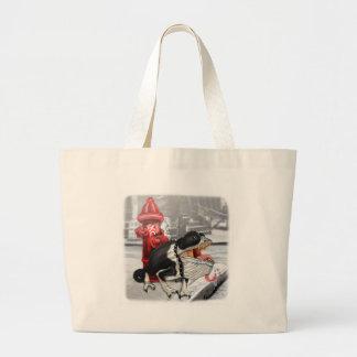 Chameleon Boston Terrier Large Tote Bag