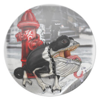 Chameleon Boston Terrier Plate