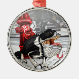 Chameleon Boston Terrier Silver-Colored Round Decoration